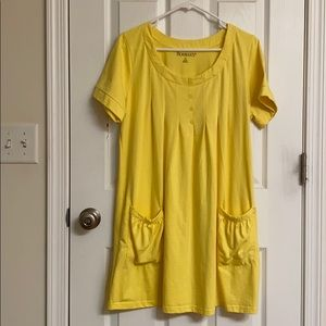 Roaman's Sunshine Yellow A-line Dress with Pockets
